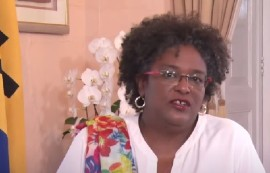 Prime Minister Mia Mottley at Thursday's press briefing.