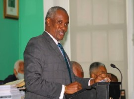 Deputy Prime Minister and Minister of Public Works, Desmond Bannister, speaking in Parliament (BGIS Photo)