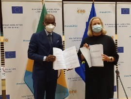 EU's Commissioner Jutta Urpilainen (Right) and and Togo's Foreign Minister Robert Dussey. (OACPS Photo)
