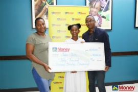 Seeri Palker (centre) first form student of Marymount High School poses with Horace Hines (right) general manager, JN Money Services and her mother Sashauna Smith after receiving an educational grant from the remittance company recently. Seeri was one of several students who were awarded a grant for her outstanding educational performance.
