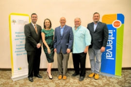 (From left) St. Maarten's Minister of Tourism Stuart A. Johnson; CHTAEF Chairperson Karolin Troubetzkoy; Neil Kolton, Interval International's Director of Business Development for the Caribbean and Southeast U.S. and CHTAEF board member; Ricardo Perez, Vice President of the St. Maarten Timeshare Association; and Wyb Meijer, Executive Director of the St. Maarten Hospitality & Trade Association in St. Maarten this month.