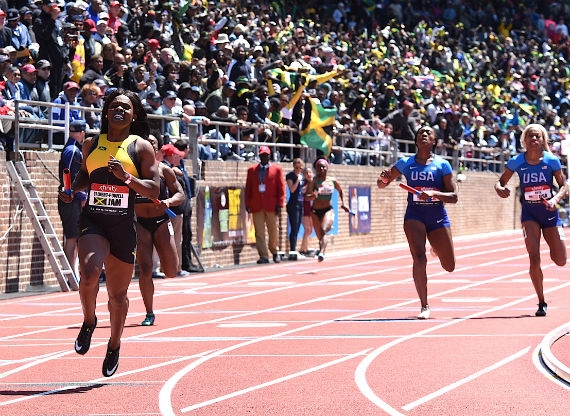 Photograph of Jamaica's win in the women's 4x100 courtesy of Track Alerts.