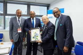 Jamaica's Ambassador to Japan Ricardo Allicock, Minister of Tourism Edmund Bartlett,  Chairman of Japan Association of Travel Agents, Hiromi Tagawa & Director of Tourism Donovan White